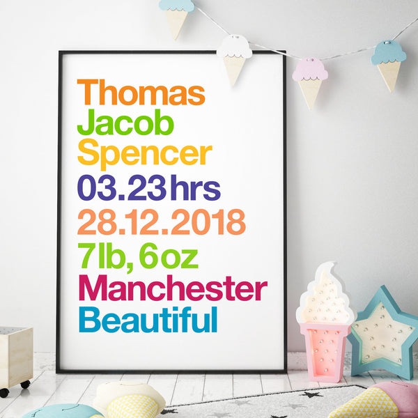 Personalised New Baby Birth Details Print