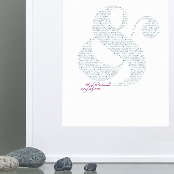 Personalised 'Perfect Pairs' Ampersand Wedding Print