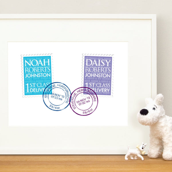 Personalised New Baby Twins Print