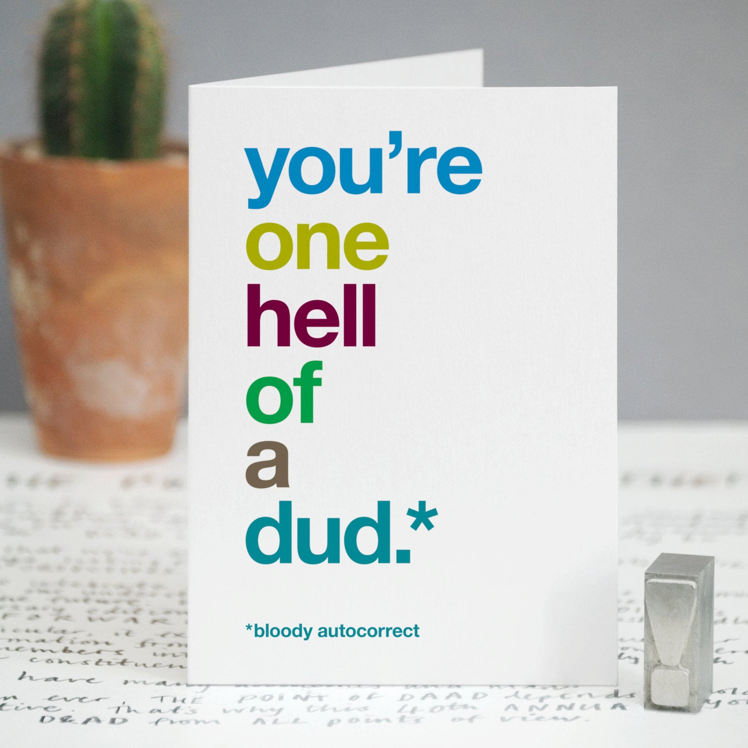 Autocorrect 'Dud' Funny Card For Dad / SECOND