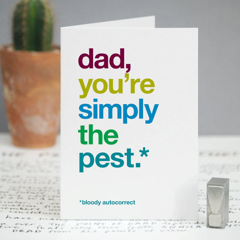 Autocorrect 'Pest' Funny Card For Dad