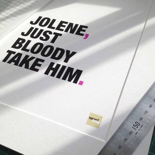 Close up of a Jolene song lyric print showing the paper quality