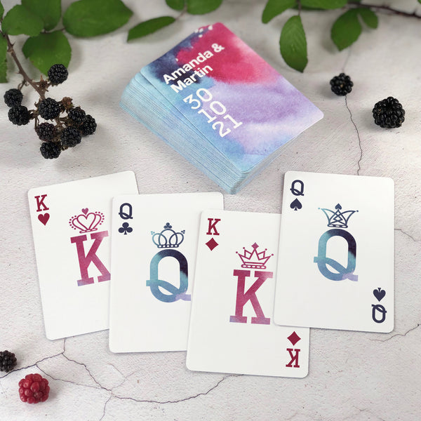 Personalised playing cards for lilac wedding theme