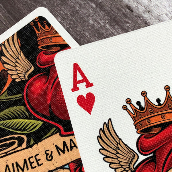 Close up of casino grade playing cards with tattoo design