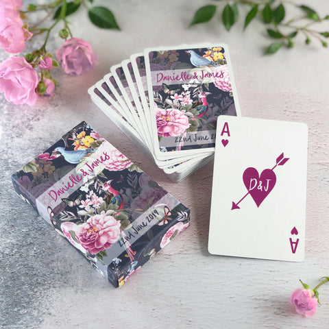 Personalised playing cards with a botanical design