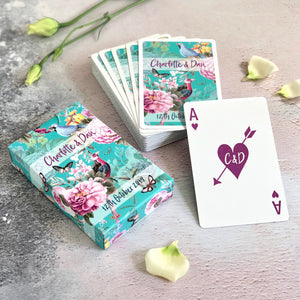 Personalised playing cards with a botanical theme