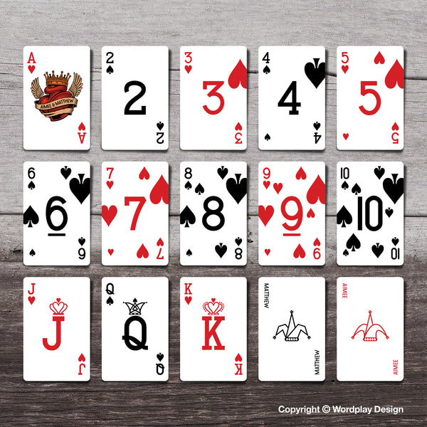Playing cards showing unique pip layout design