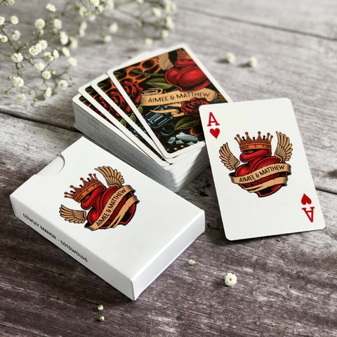 Personalised playing cards with a tattoo theme