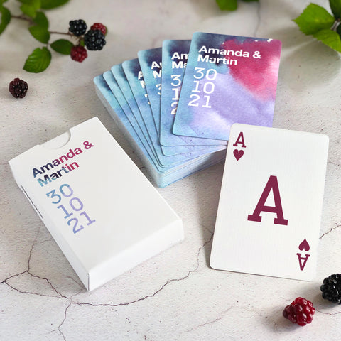 Personalised wedding favours playing cards