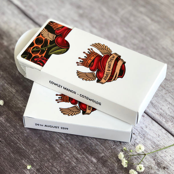 Personalised tattoo playing card boxes