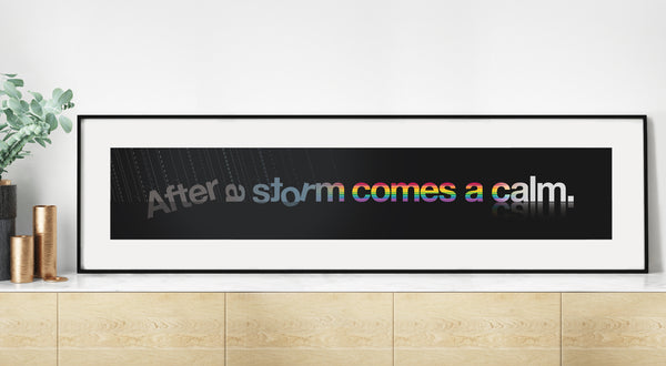 Typographic wordplay of a storm changing into a rainbow