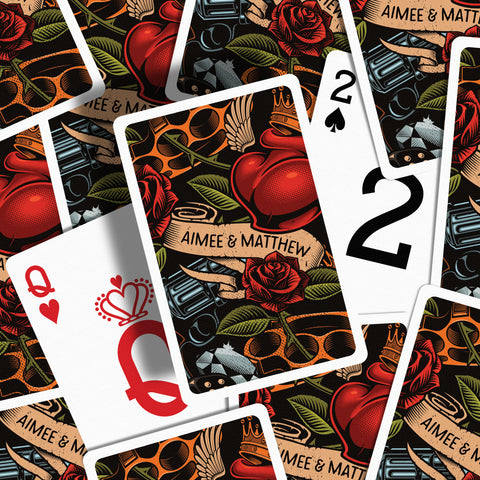 Tattoo wedding favours playing cards