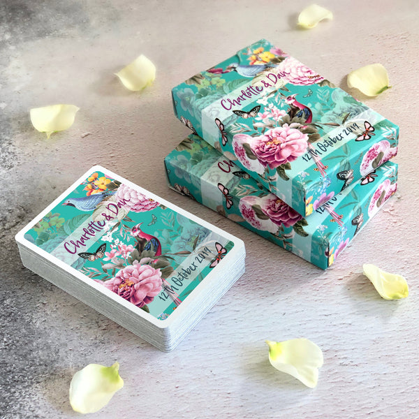 Botanical design playing cards for wedding favours