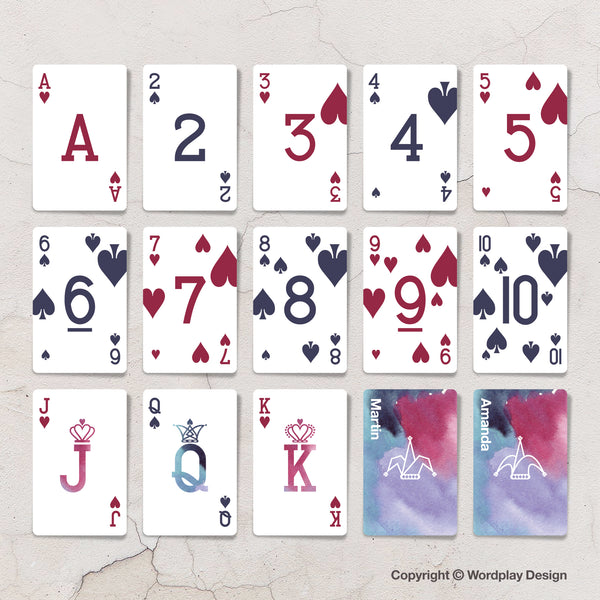 Bespoke playing cards for purple wedding favours