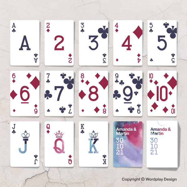 Purple wedding theme custom playing cards