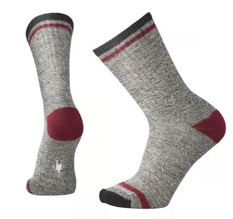 Smartwool Everyday Larimer Crew Socks Charcoal Heather-Tibetan Red Heather