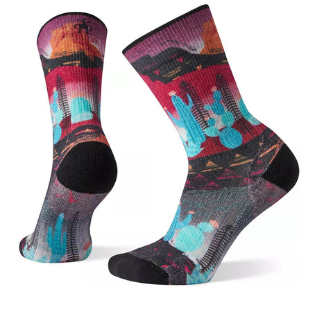 Smartwool Womens PhD Outdoor Light Print Crew Socks Very Berry