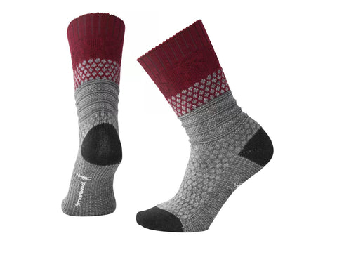 Smartwool Womens Popcorn Cable Socks Tibetan Red Heather