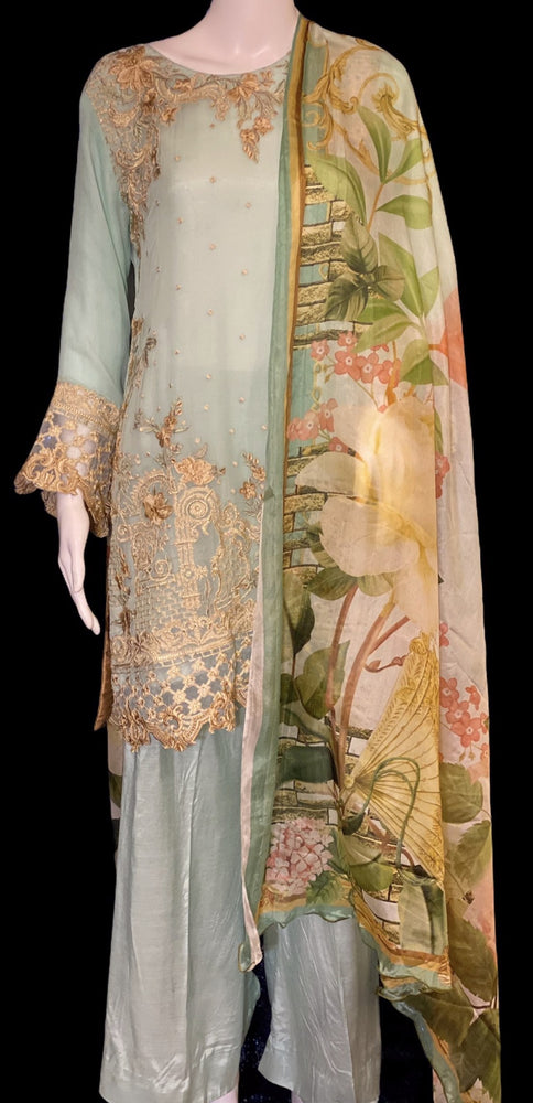 MINT PICK- CHIFFON EMBROIDERED OUTFIT WITH SILK DIGITAL DUPATTA- SIZE SMALL