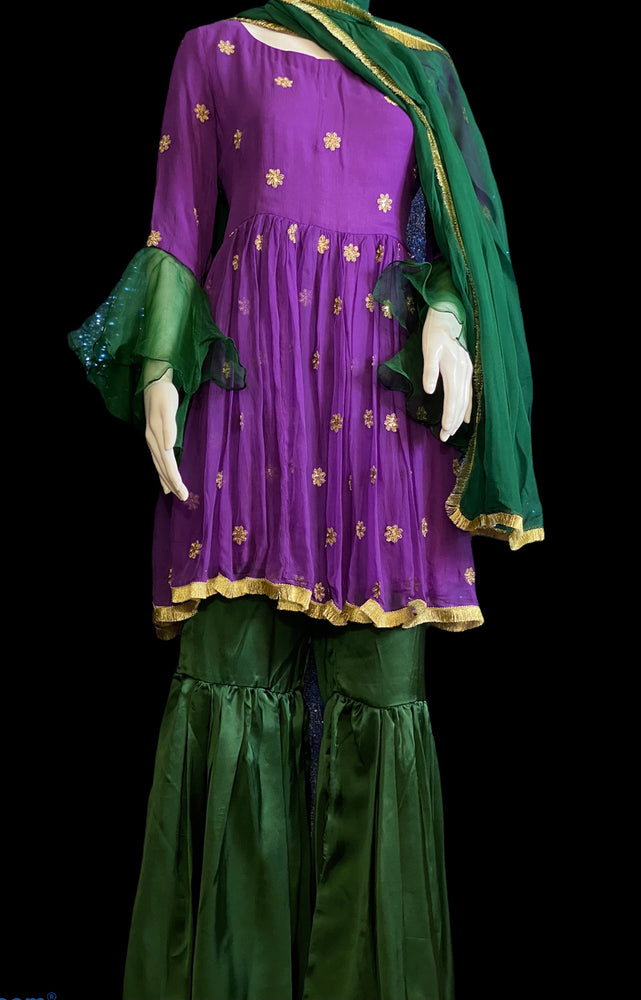 PLUMSY- CHIFFON AND SILK EMBROIDERED GHARARA OUTFIT- SIZE MEDIUM/LARGE