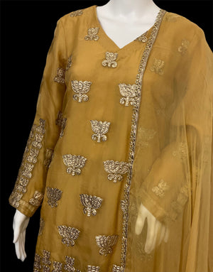 ETHNIC FLOWER - Golden Ghotta Organza Outfit - Size Large