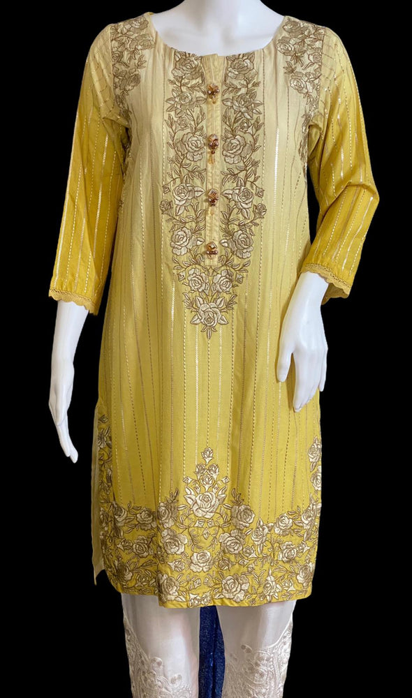LEMONISH- A VERY CLASSY CASUAL COTTON LAWN OUTFIT- SIZE SMALL