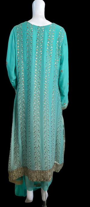 AQUAZIA- A VERY PRETTY A-LINE FLARE TILLA EMBROIDERED OUTFIT- SIZE L/XL