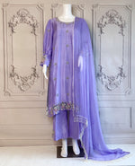 WISTERIA - PURE RAW SILK HAND EMBROIRDERD BEADS SEQUINS MIX WORK OUTFIT