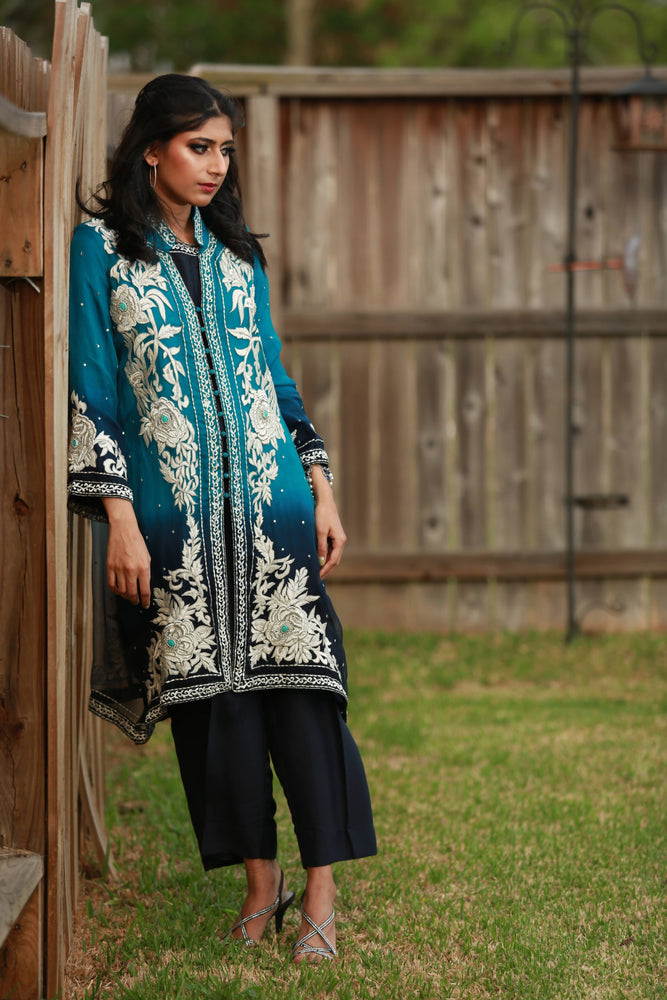 SEAISH- FULLY EMBROIDERED ORGANZA JACKET STYLE OUTFIT- SIZE MEDIUM/LARGE
