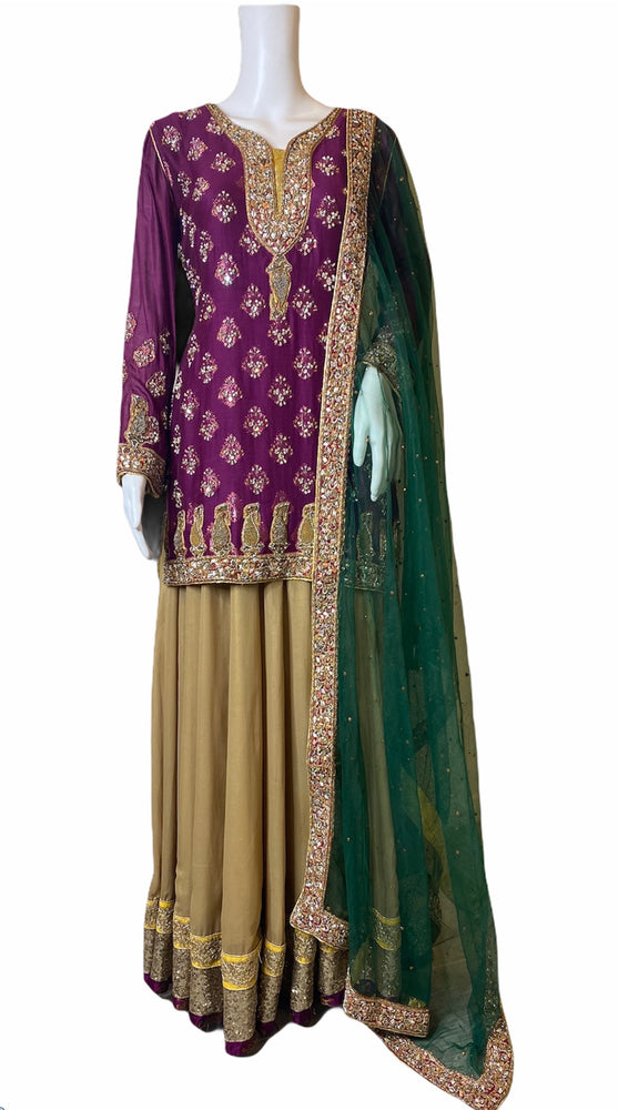 CLEMATIS- A VERY ROYAL CHIFFON LEHNGA OUTFIT WITH ZARI GOTA HANDWORK- SIZE LARGE