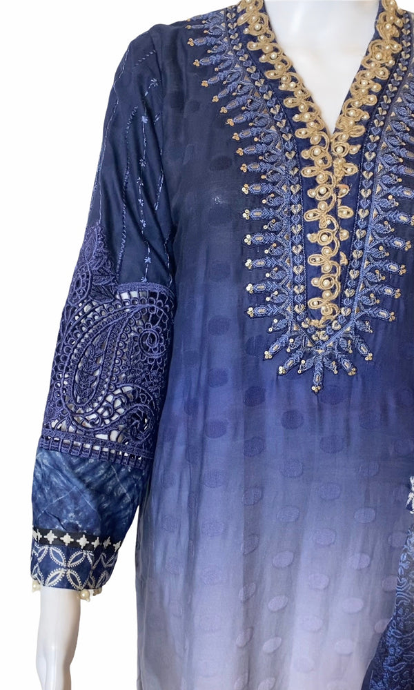 BLUEMAGIC- JACQUARD BURNOUT EMBROIDERED FANCY OUTFIT- SIZE SMALL