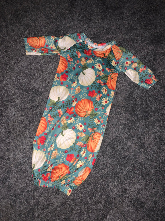 Pumpkin Printed Baby Gown