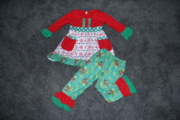Christmas Ruffle Tunic Set