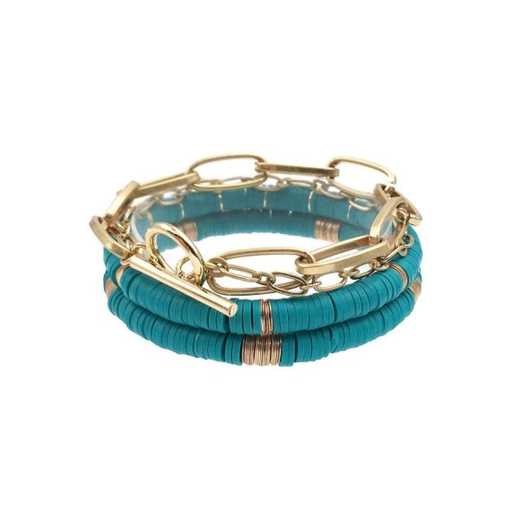Chain Link Stretch Bracelet Set in Teal