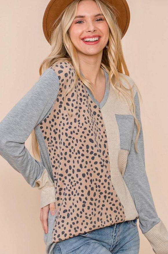Leopard Print Colorblock Top