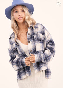 Navy Cropped Plaid Jacket