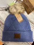 Diagonal Stripe Knit Beanie