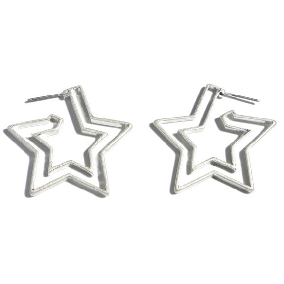 Stars In Your Eyes Hoop Earrings in Silver