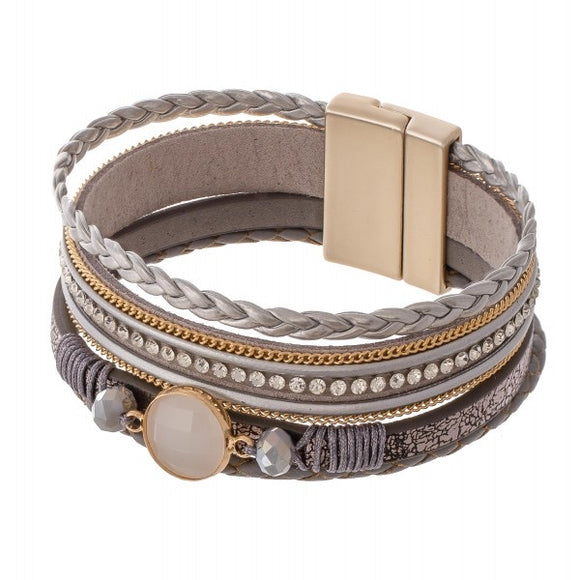 Braided Leather Magnetic Bracelet in Grey