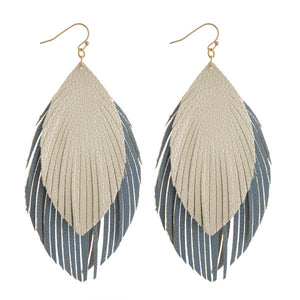 Double Feathered Earrings in Blue