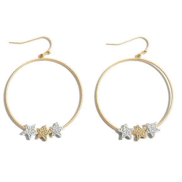 Starstruck Round Drop Earrings in Gold