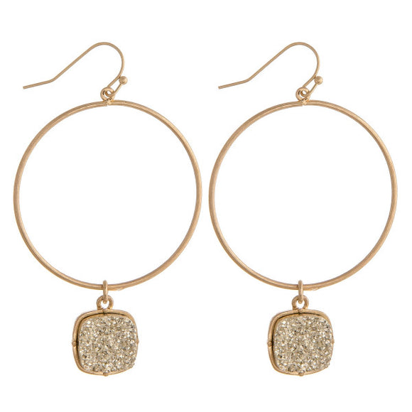 Metal Earrings with Druzy Accent