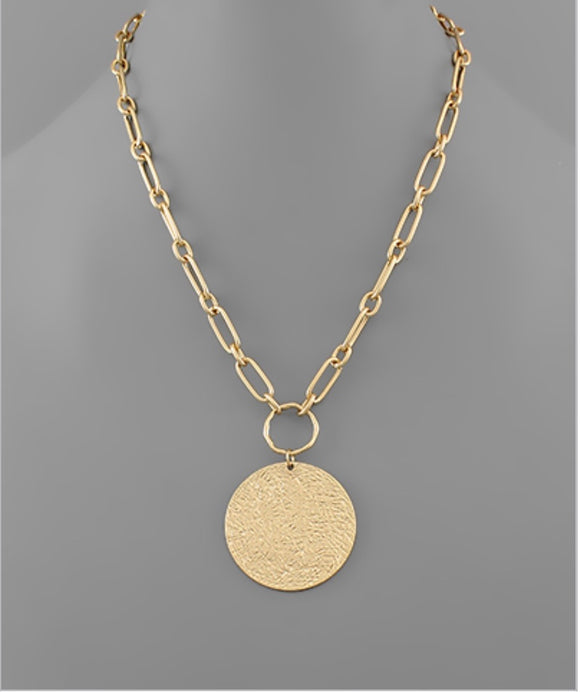 Textured Disc Oval Chain Necklace