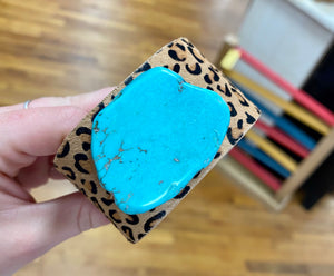 Turquoise Leopard Leather Cuff