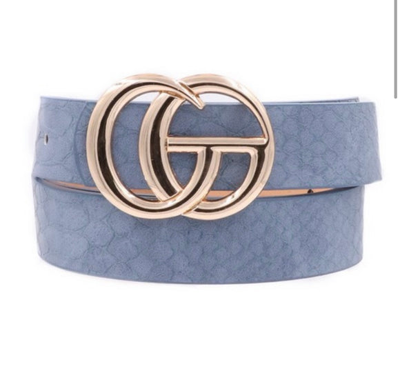 Crocodile Faux Leather CG Belt - Blue