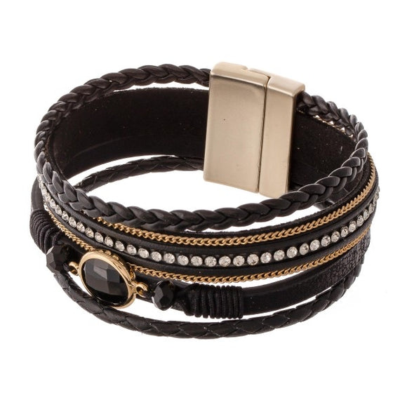 Braided Leather Magnetic Bracelet in Jet
