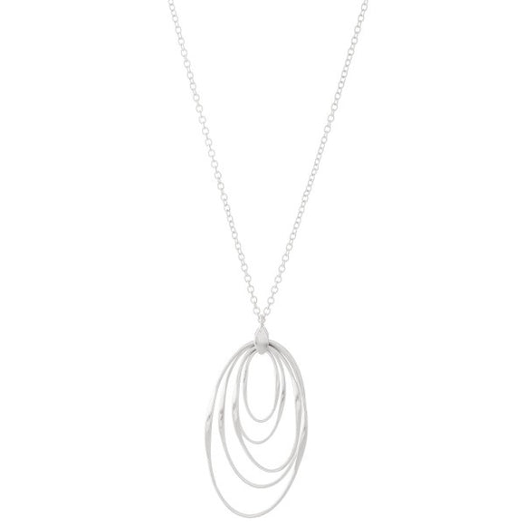 Oval Layered Pendant Necklace