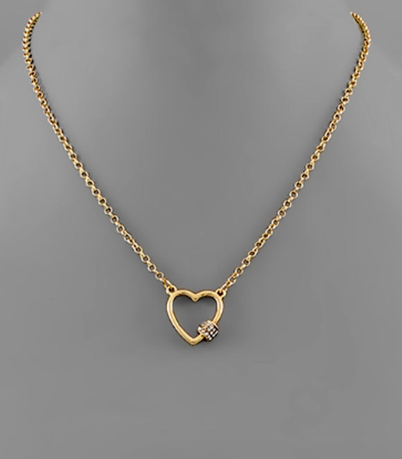 Heart Carabiner Necklace in Gold