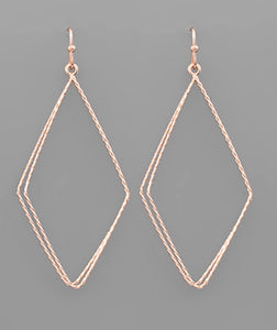 Textured Rhombus Earrings - Rose Gold