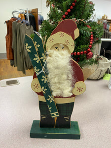 Santa With Skis Plaque